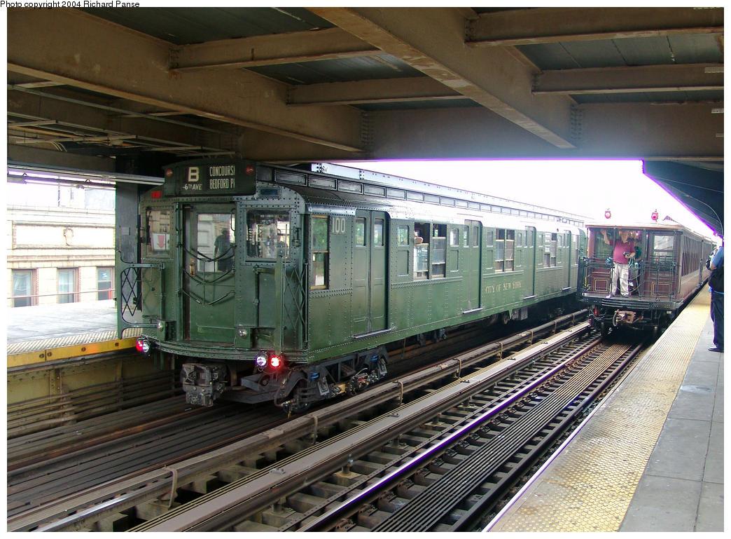 (200k, 1044x769)<br><b>Country:</b> United States<br><b>City:</b> New York<br><b>System:</b> New York City Transit<br><b>Line:</b> BMT Brighton Line<br><b>Location:</b> Brighton Beach <br><b>Route:</b> Fan Trip<br><b>Car:</b> R-1 (American Car & Foundry, 1930-1931) 100 <br><b>Photo by:</b> Richard Panse<br><b>Date:</b> 7/18/2004<br><b>Viewed (this week/total):</b> 0 / 3648