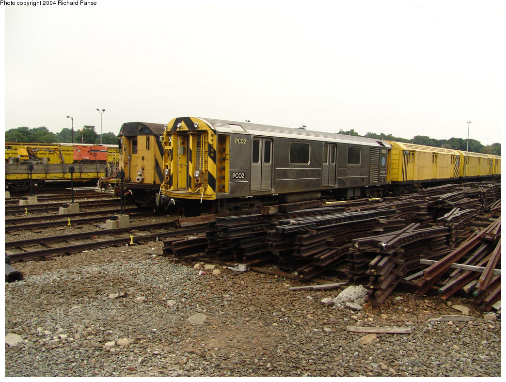 (199k, 1044x788)<br><b>Country:</b> United States<br><b>City:</b> New York<br><b>System:</b> New York City Transit<br><b>Location:</b> 36th Street Yard<br><b>Car:</b> R-65 Pump Car 02 <br><b>Photo by:</b> Richard Panse<br><b>Date:</b> 7/18/2004<br><b>Viewed (this week/total):</b> 2 / 5474