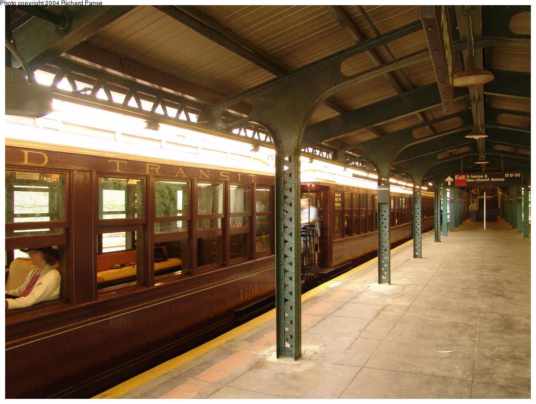 (172k, 1044x788)<br><b>Country:</b> United States<br><b>City:</b> New York<br><b>System:</b> New York City Transit<br><b>Line:</b> BMT West End Line<br><b>Location:</b> 9th Avenue <br><b>Route:</b> Fan Trip<br><b>Car:</b> BMT Elevated Gate Car 1404 <br><b>Photo by:</b> Richard Panse<br><b>Date:</b> 7/18/2004<br><b>Viewed (this week/total):</b> 1 / 2733