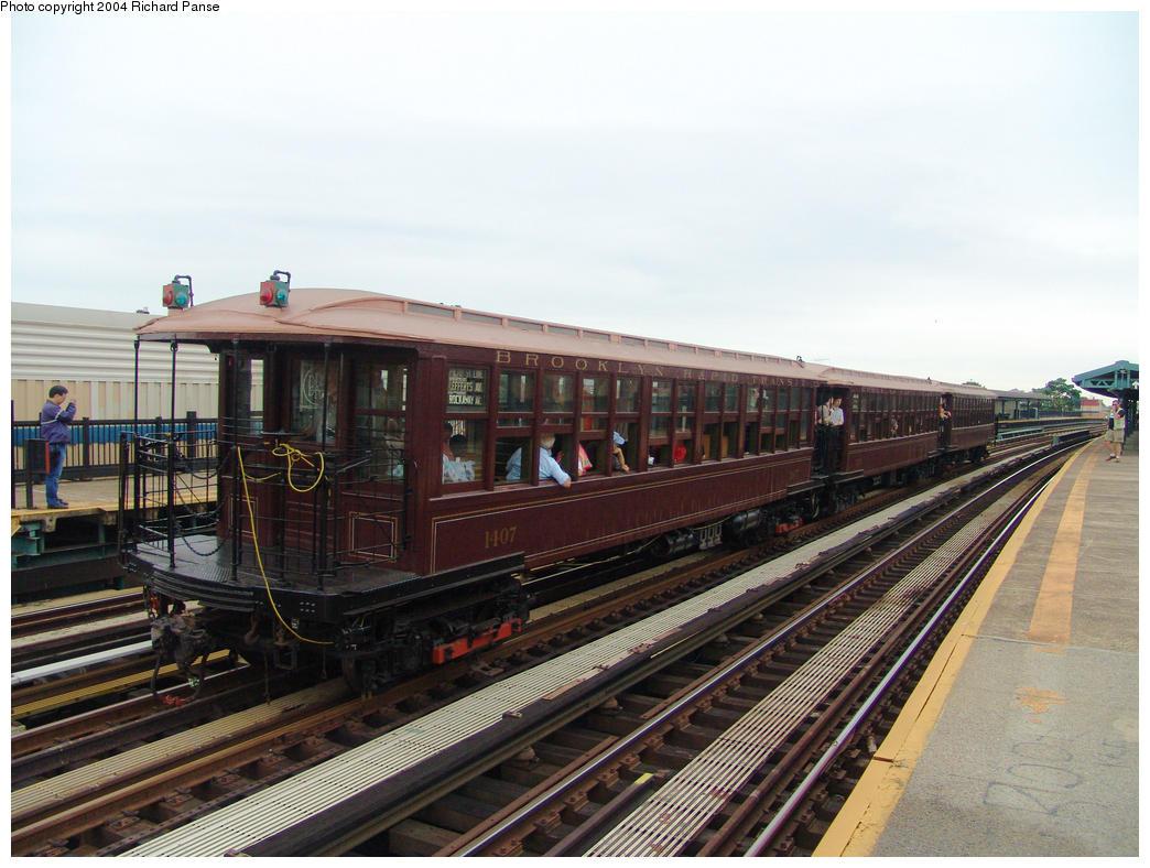 (162k, 1044x788)<br><b>Country:</b> United States<br><b>City:</b> New York<br><b>System:</b> New York City Transit<br><b>Line:</b> BMT West End Line<br><b>Location:</b> 55th Street <br><b>Route:</b> Fan Trip<br><b>Car:</b> BMT Elevated Gate Car 1407 <br><b>Photo by:</b> Richard Panse<br><b>Date:</b> 7/24/2004<br><b>Viewed (this week/total):</b> 0 / 2383