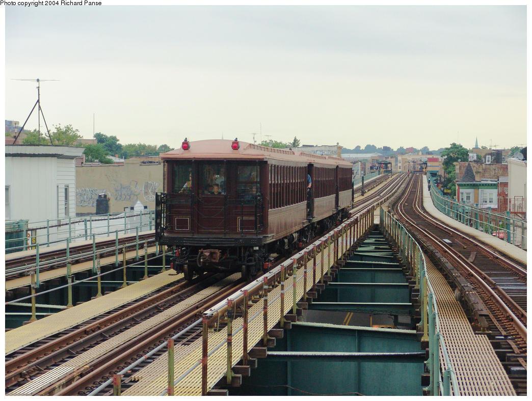 (184k, 1044x788)<br><b>Country:</b> United States<br><b>City:</b> New York<br><b>System:</b> New York City Transit<br><b>Line:</b> BMT West End Line<br><b>Location:</b> 62nd Street <br><b>Route:</b> Fan Trip<br><b>Car:</b> BMT Elevated Gate Car 1404 <br><b>Photo by:</b> Richard Panse<br><b>Date:</b> 7/24/2004<br><b>Viewed (this week/total):</b> 1 / 2947