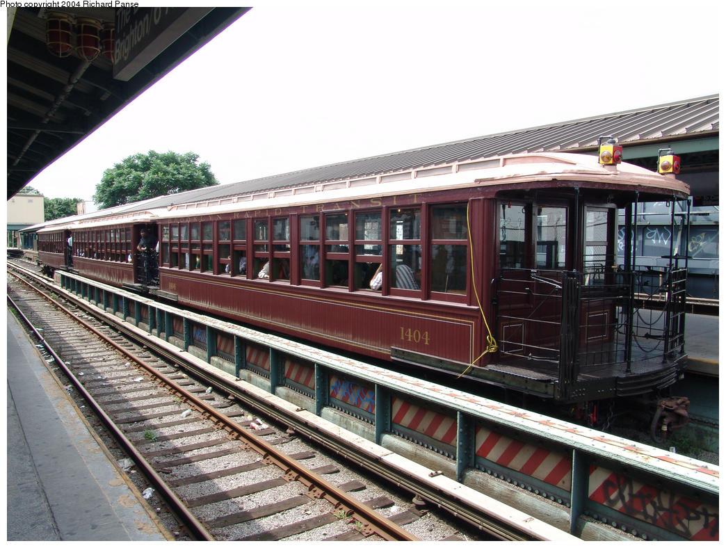 (202k, 1044x788)<br><b>Country:</b> United States<br><b>City:</b> New York<br><b>System:</b> New York City Transit<br><b>Line:</b> BMT Brighton Line<br><b>Location:</b> Kings Highway <br><b>Route:</b> Fan Trip<br><b>Car:</b> BMT Elevated Gate Car 1404 <br><b>Photo by:</b> Richard Panse<br><b>Date:</b> 7/25/2004<br><b>Viewed (this week/total):</b> 2 / 2320