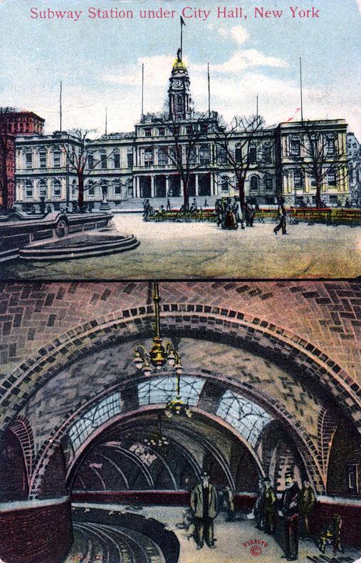 (184k, 507x790)<br><b>Country:</b> United States<br><b>City:</b> New York<br><b>System:</b> New York City Transit<br><b>Line:</b> IRT East Side Line<br><b>Location:</b> City Hall <br><b>Collection of:</b> Ed Levine<br><b>Notes:</b> Postcard: Subway Station under City Hall, New York<br><b>Viewed (this week/total):</b> 1 / 8324