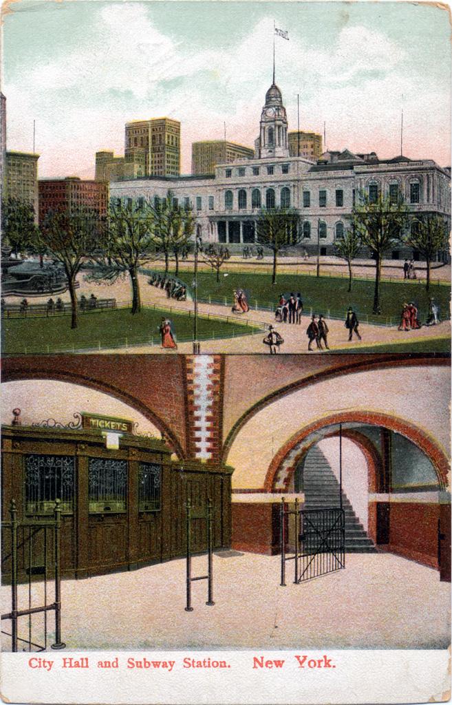 (434k, 657x1024)<br><b>Country:</b> United States<br><b>City:</b> New York<br><b>System:</b> New York City Transit<br><b>Line:</b> IRT East Side Line<br><b>Location:</b> City Hall <br><b>Collection of:</b> Chris Leverett<br><b>Notes:</b> Postcard: City Hall & Subway Station, New York<br><b>Viewed (this week/total):</b> 5 / 6659