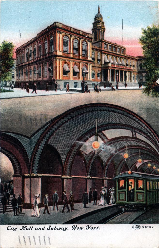 (394k, 657x1024)<br><b>Country:</b> United States<br><b>City:</b> New York<br><b>System:</b> New York City Transit<br><b>Line:</b> IRT East Side Line<br><b>Location:</b> City Hall <br><b>Collection of:</b> Chris Leverett<br><b>Notes:</b> Postcard: City Hall and Subway, New York<br><b>Viewed (this week/total):</b> 0 / 3467