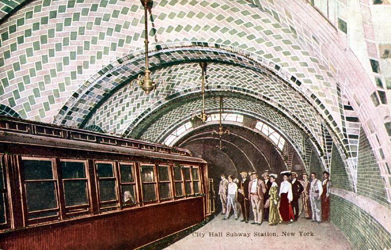 (196k, 795x508)<br><b>Country:</b> United States<br><b>City:</b> New York<br><b>System:</b> New York City Transit<br><b>Line:</b> IRT East Side Line<br><b>Location:</b> City Hall <br><b>Collection of:</b> Ed Levine<br><b>Notes:</b> Postcard: City Hall Subway Station, New York<br><b>Viewed (this week/total):</b> 0 / 6178