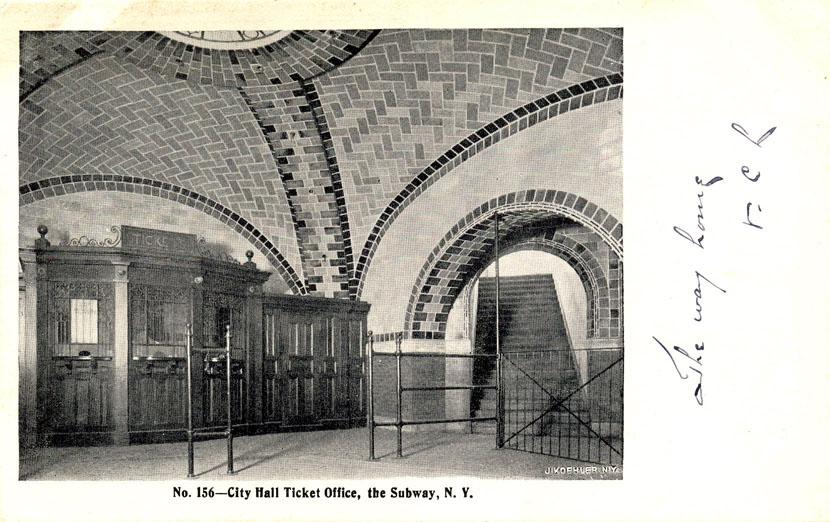 (132k, 830x522)<br><b>Country:</b> United States<br><b>City:</b> New York<br><b>System:</b> New York City Transit<br><b>Line:</b> IRT East Side Line<br><b>Location:</b> City Hall <br><b>Collection of:</b> Ed Levine<br><b>Notes:</b> Postcard: No. 156-City Hall Ticket Office, the Subway, N. Y.<br><b>Viewed (this week/total):</b> 1 / 7260