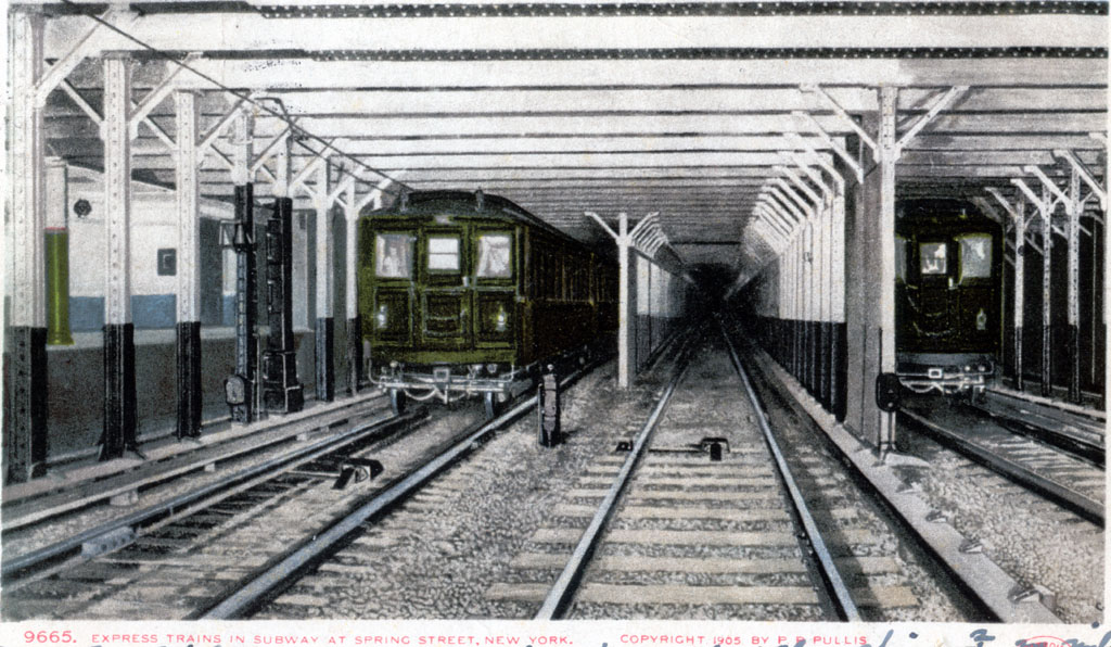 (201k, 1024x596)<br><b>Country:</b> United States<br><b>City:</b> New York<br><b>System:</b> New York City Transit<br><b>Line:</b> IRT East Side Line<br><b>Location:</b> Spring Street <br><b>Collection of:</b> David Pirmann<br><b>Notes:</b> Postcard: Express trains in subway at Spring Street, New York<br><b>Viewed (this week/total):</b> 2 / 2863
