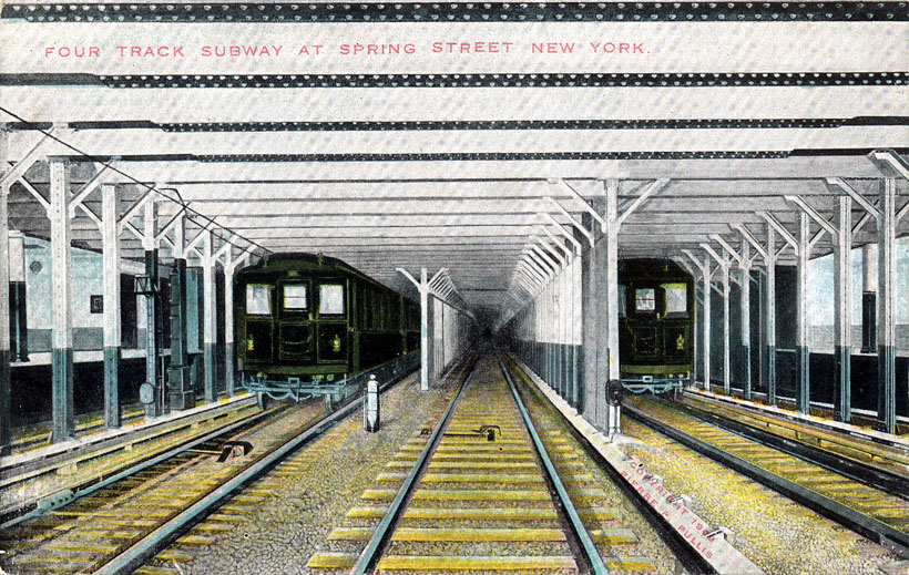 (206k, 820x519)<br><b>Country:</b> United States<br><b>City:</b> New York<br><b>System:</b> New York City Transit<br><b>Line:</b> IRT East Side Line<br><b>Location:</b> Spring Street <br><b>Collection of:</b> Ed Levine<br><b>Notes:</b> Postcard: Four (sic) track subway at Spring Street, New York<br><b>Viewed (this week/total):</b> 0 / 5461