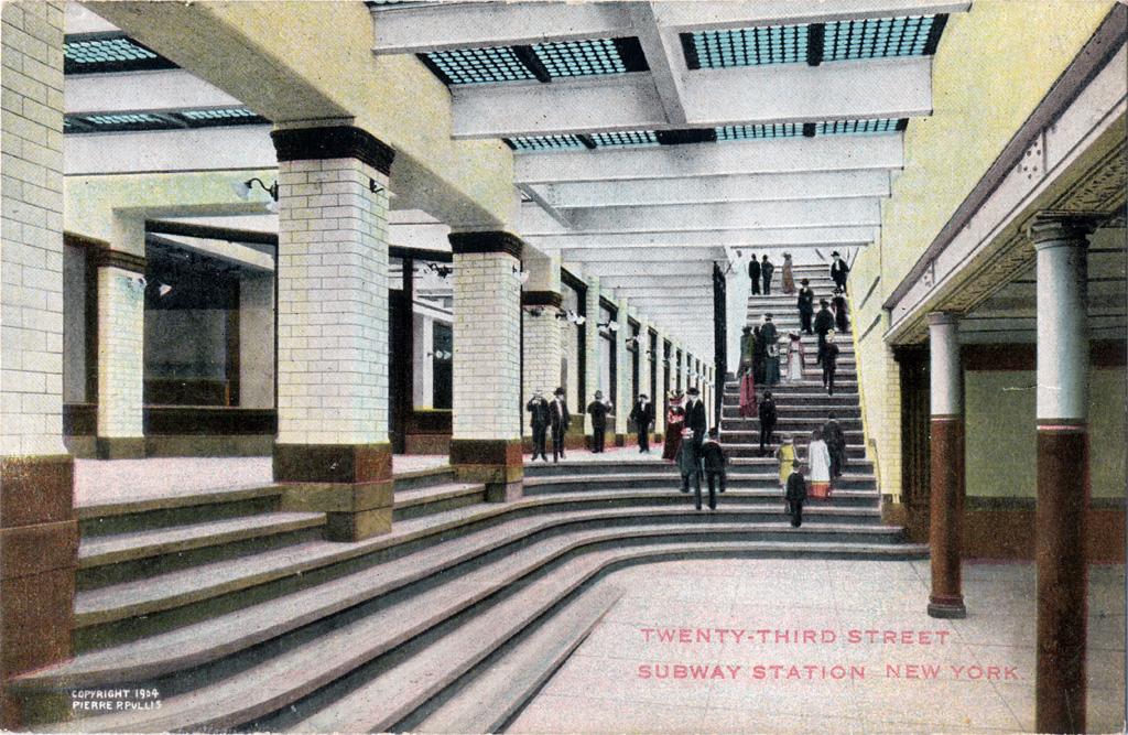 (446k, 1024x667)<br><b>Country:</b> United States<br><b>City:</b> New York<br><b>System:</b> New York City Transit<br><b>Line:</b> IRT East Side Line<br><b>Location:</b> 23rd Street <br><b>Collection of:</b> Chris Leverett<br><b>Notes:</b> Postcard: Twenty-Third Street Subway Station, New York<br><b>Viewed (this week/total):</b> 0 / 3789