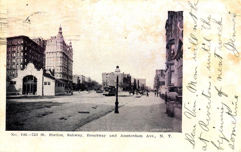 (132k, 822x518)<br><b>Country:</b> United States<br><b>City:</b> New York<br><b>System:</b> New York City Transit<br><b>Line:</b> IRT West Side Line<br><b>Location:</b> 72nd Street <br><b>Collection of:</b> Ed Levine<br><b>Notes:</b> Postcard: 72d St. Station, Subway, Broadway and Amsterdam Ave, N.Y.<br><b>Viewed (this week/total):</b> 0 / 3223