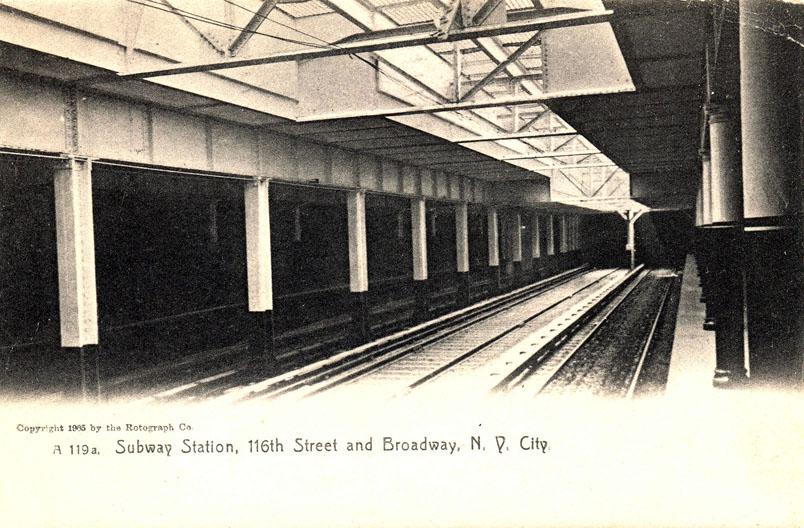 (136k, 804x528)<br><b>Country:</b> United States<br><b>City:</b> New York<br><b>System:</b> New York City Transit<br><b>Line:</b> IRT West Side Line<br><b>Location:</b> 116th Street/Columbia University <br><b>Collection of:</b> Ed Levine<br><b>Notes:</b> Postcard: Subway Station, 116th Street and Broadway, N.Y. City<br><b>Viewed (this week/total):</b> 2 / 4577