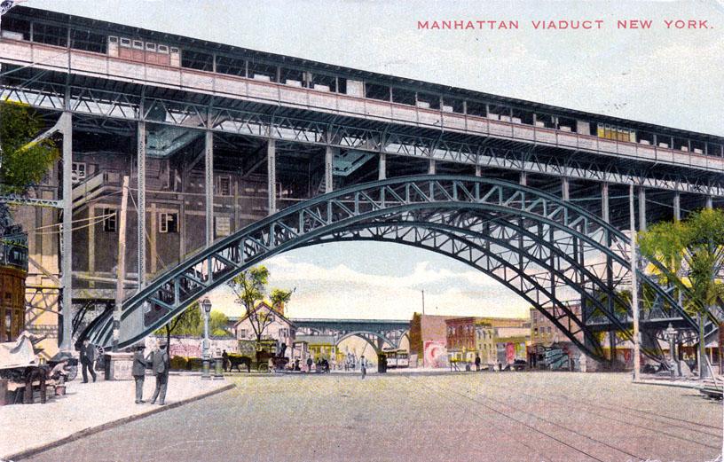 (179k, 816x521)<br><b>Country:</b> United States<br><b>City:</b> New York<br><b>System:</b> New York City Transit<br><b>Line:</b> IRT West Side Line<br><b>Location:</b> 125th Street <br><b>Collection of:</b> Ed Levine<br><b>Notes:</b> Postcard: Manhattan Viaduct, New York<br><b>Viewed (this week/total):</b> 0 / 2911