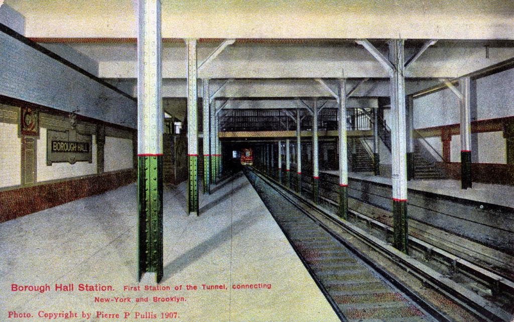 (300k, 1024x642)<br><b>Country:</b> United States<br><b>City:</b> New York<br><b>System:</b> New York City Transit<br><b>Line:</b> IRT Brooklyn Line<br><b>Location:</b> Borough Hall (East Side Branch) <br><b>Collection of:</b> David Pirmann<br><b>Notes:</b> Postcard: Borough Hall Station, First Station of the Tunnel connecting New-York and Brooklyn, Photo Copyright Pierre P. Pullis, 1907<br><b>Viewed (this week/total):</b> 2 / 2850