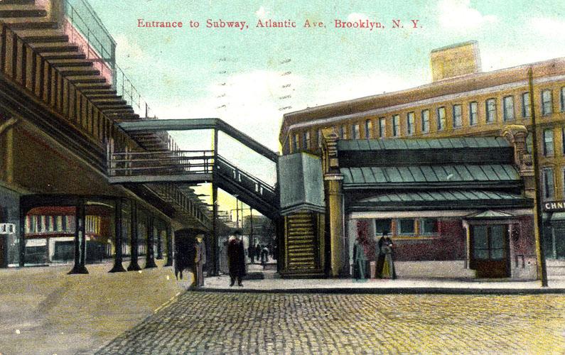 (170k, 795x500)<br><b>Country:</b> United States<br><b>City:</b> New York<br><b>System:</b> New York City Transit<br><b>Line:</b> IRT Brooklyn Line<br><b>Location:</b> Atlantic Avenue <br><b>Collection of:</b> Ed Levine<br><b>Notes:</b> Postcard: Entrance to Subway, Atlantic Ave., Brooklyn, N.Y.<br><b>Viewed (this week/total):</b> 1 / 6498