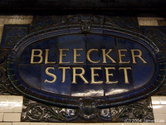 (60k, 640x480)<br><b>Country:</b> United States<br><b>City:</b> New York<br><b>System:</b> New York City Transit<br><b>Line:</b> IRT East Side Line<br><b>Location:</b> Bleecker Street <br><b>Photo by:</b> James Lee<br><b>Date:</b> 6/25/2004<br><b>Notes:</b> Faience name tablet, Heins & LaFarge/Grueby Faience Company, 1904. Original design element, Contract 1 IRT.<br><b>Viewed (this week/total):</b> 3 / 3000