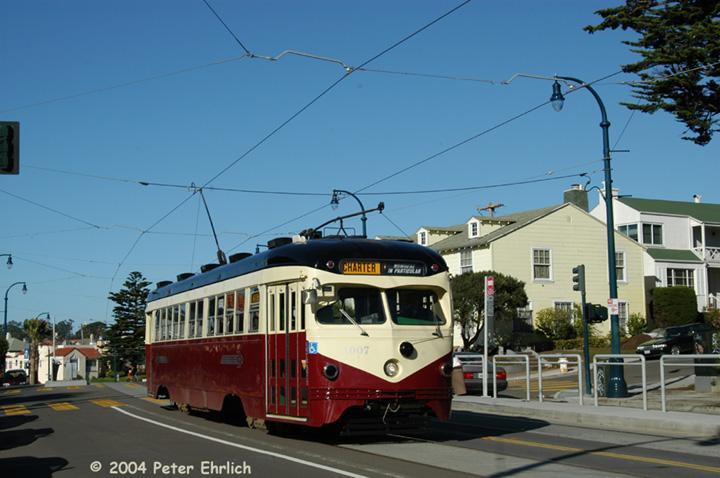(131k, 720x478)<br><b>Country:</b> United States<br><b>City:</b> San Francisco/Bay Area, CA<br><b>System:</b> SF MUNI<br><b>Line:</b> MUNI Metro (K/M)<br><b>Location:</b> Ocean/Aptos <br><b>Car:</b> SF MUNI PCC Torpedo Double-End (St. Louis Car Co., 1948)  1007 <br><b>Photo by:</b> Peter Ehrlich<br><b>Date:</b> 12/14/2003<br><b>Notes:</b> K-Ingleside line, on a fantrip.  The line reopened for streetcar service six months earlier.<br><b>Viewed (this week/total):</b> 4 / 3454