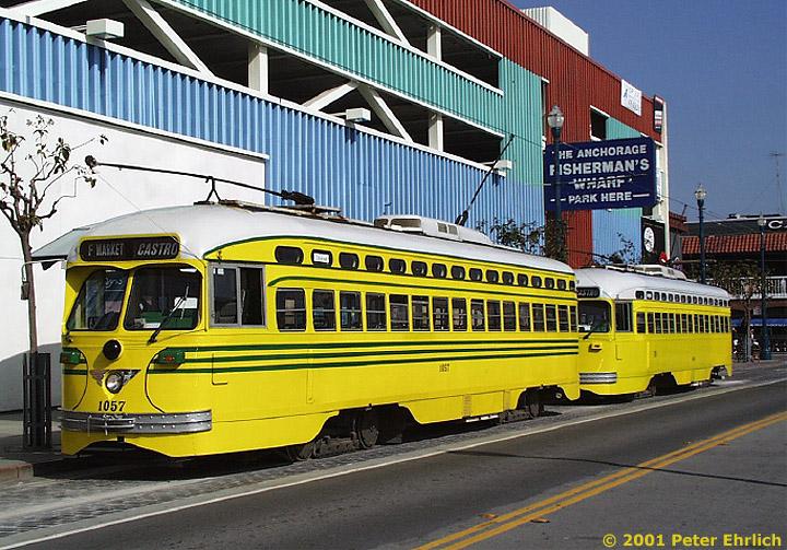 (179k, 720x503)<br><b>Country:</b> United States<br><b>City:</b> San Francisco/Bay Area, CA<br><b>System:</b> SF MUNI<br><b>Location:</b> Jones/Beach <br><b>Car:</b> SF MUNI PCC (Ex-SEPTA) (St. Louis Car Co., 1947-1948)  1057 <br><b>Photo by:</b> Peter Ehrlich<br><b>Date:</b> 4/17/2001<br><b>Notes:</b> With 1063 (Baltimore) at Jones/Beach Terminal.<br><b>Viewed (this week/total):</b> 2 / 2163