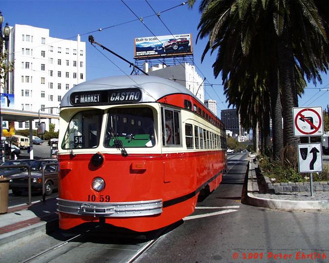 (201k, 675x540)<br><b>Country:</b> United States<br><b>City:</b> San Francisco/Bay Area, CA<br><b>System:</b> SF MUNI<br><b>Location:</b> Market/Duboce <br><b>Car:</b> SF MUNI PCC (Ex-SEPTA) (St. Louis Car Co., 1947-1948)  1059 <br><b>Photo by:</b> Peter Ehrlich<br><b>Date:</b> 10/23/2001<br><b>Viewed (this week/total):</b> 0 / 726
