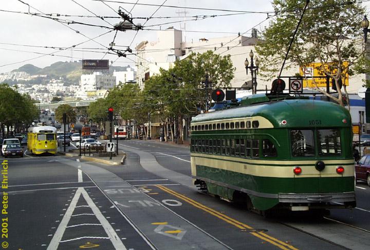 (148k, 720x488)<br><b>Country:</b> United States<br><b>City:</b> San Francisco/Bay Area, CA<br><b>System:</b> SF MUNI<br><b>Location:</b> Market/12th <br><b>Car:</b> SF MUNI PCC (Ex-SEPTA) (St. Louis Car Co., 1947-1948)  1051 <br><b>Photo by:</b> Peter Ehrlich<br><b>Date:</b> 4/17/2001<br><b>Notes:</b> With 1063<br><b>Viewed (this week/total):</b> 0 / 1516