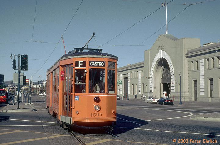 (143k, 720x474)<br><b>Country:</b> United States<br><b>City:</b> San Francisco/Bay Area, CA<br><b>System:</b> SF MUNI<br><b>Location:</b> Embarcadero/Bay <br><b>Car:</b> Milan Milano/Peter Witt (1927-1930)  1515 <br><b>Photo by:</b> Peter Ehrlich<br><b>Date:</b> 1/16/2001<br><b>Viewed (this week/total):</b> 0 / 1799