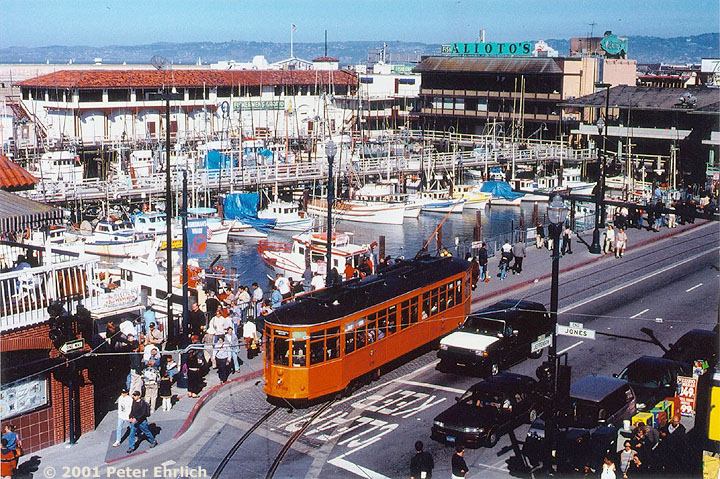 (182k, 720x479)<br><b>Country:</b> United States<br><b>City:</b> San Francisco/Bay Area, CA<br><b>System:</b> SF MUNI<br><b>Location:</b> Jefferson/Fishermans Wharf <br><b>Car:</b> Milan Milano/Peter Witt (1927-1930)  1793 <br><b>Photo by:</b> Peter Ehrlich<br><b>Date:</b> 4/18/2000<br><b>Notes:</b> View from Anchorage parking garage.<br><b>Viewed (this week/total):</b> 0 / 2142