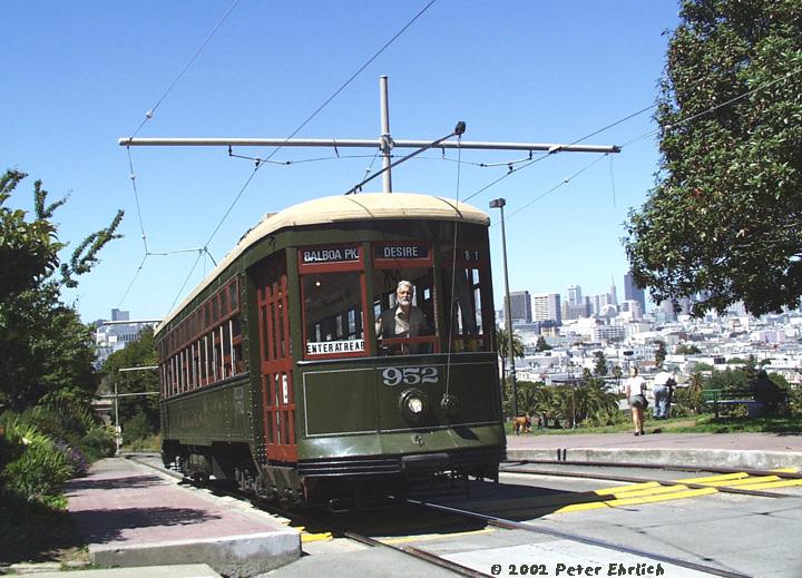 (194k, 720x519)<br><b>Country:</b> United States<br><b>City:</b> San Francisco/Bay Area, CA<br><b>System:</b> SF MUNI<br><b>Line:</b> MUNI Metro (J-Church)<br><b>Location:</b> Mission Dolores Park <br><b>Car:</b> New Orleans Public Service (Perley A. Thomas Car Works, 1924) 952 <br><b>Photo by:</b> Peter Ehrlich<br><b>Date:</b> 6/5/2002<br><b>Notes:</b> J-Line PRW in Dolores Park at 20th Street outbound, J-Church line.<br><b>Viewed (this week/total):</b> 0 / 2084