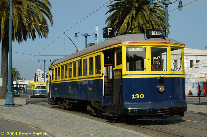 (190k, 720x478)<br><b>Country:</b> United States<br><b>City:</b> San Francisco/Bay Area, CA<br><b>System:</b> SF MUNI<br><b>Location:</b> Embarcadero/Sansome <br><b>Car:</b> SF MUNI B-Type (Jewett Car Co, 1914)  130 <br><b>Photo by:</b> Peter Ehrlich<br><b>Date:</b> 1/13/2004<br><b>Notes:</b> With PCC 1010<br><b>Viewed (this week/total):</b> 0 / 2773