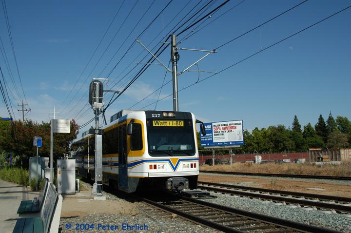 (154k, 720x478)<br><b>Country:</b> United States<br><b>City:</b> Sacramento, CA<br><b>System:</b> SACRT Light Rail<br><b>Location:</b> Tiber <br><b>Car:</b> Sacramento CAF LRV  217 <br><b>Photo by:</b> Peter Ehrlich<br><b>Date:</b> 6/27/2004<br><b>Viewed (this week/total):</b> 0 / 1266