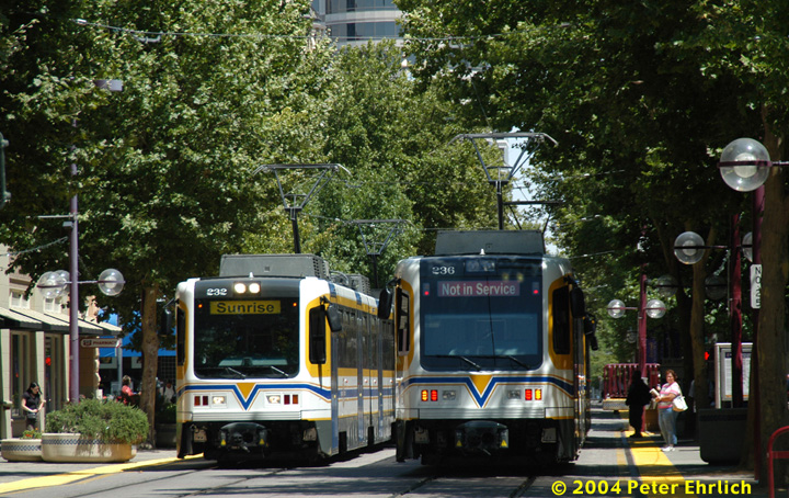 (217k, 720x454)<br><b>Country:</b> United States<br><b>City:</b> Sacramento, CA<br><b>System:</b> SACRT Light Rail<br><b>Location:</b> 8th & K <br><b>Car:</b> Sacramento CAF LRV  232/236 <br><b>Photo by:</b> Peter Ehrlich<br><b>Date:</b> 6/28/2004<br><b>Notes:</b> The eastbound (for northbound trains) St. Rose of Lima Park Station platform is located between 8th and 9th Streets.<br><b>Viewed (this week/total):</b> 0 / 1792