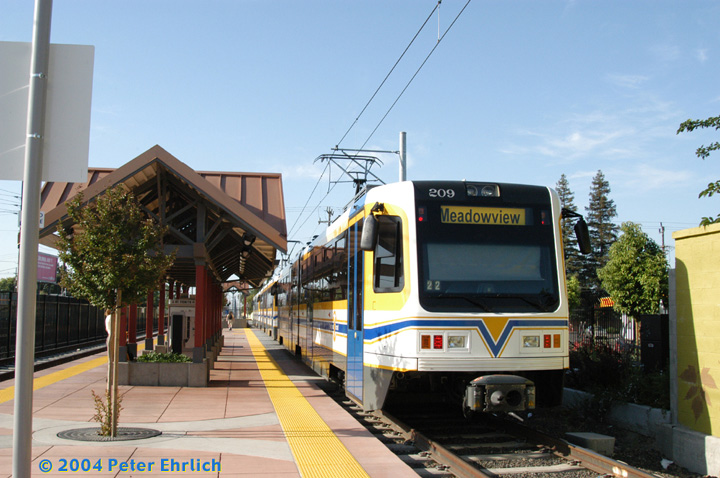 (150k, 720x478)<br><b>Country:</b> United States<br><b>City:</b> Sacramento, CA<br><b>System:</b> SACRT Light Rail<br><b>Location:</b> Fruitridge <br><b>Car:</b> Sacramento CAF LRV  209 <br><b>Photo by:</b> Peter Ehrlich<br><b>Date:</b> 6/28/2004<br><b>Viewed (this week/total):</b> 0 / 1288