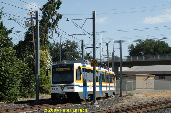 (184k, 720x478)<br><b>Country:</b> United States<br><b>City:</b> Sacramento, CA<br><b>System:</b> SACRT Light Rail<br><b>Location:</b> Bee Junction/Bee Bridge <br><b>Car:</b> Sacramento CAF LRV  221 <br><b>Photo by:</b> Peter Ehrlich<br><b>Date:</b> 6/28/2004<br><b>Viewed (this week/total):</b> 0 / 1297