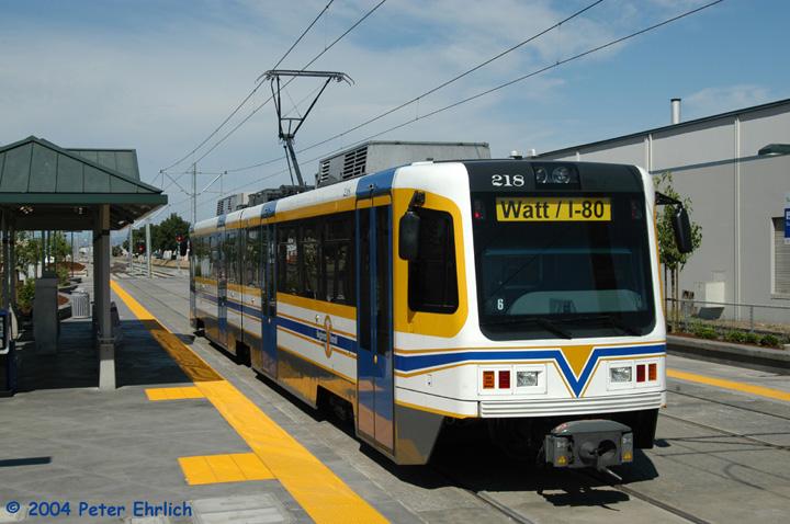 (140k, 720x478)<br><b>Country:</b> United States<br><b>City:</b> Sacramento, CA<br><b>System:</b> SACRT Light Rail<br><b>Location:</b> Sunrise <br><b>Car:</b> Sacramento CAF LRV  218 <br><b>Photo by:</b> Peter Ehrlich<br><b>Date:</b> 6/27/2004<br><b>Viewed (this week/total):</b> 0 / 1243