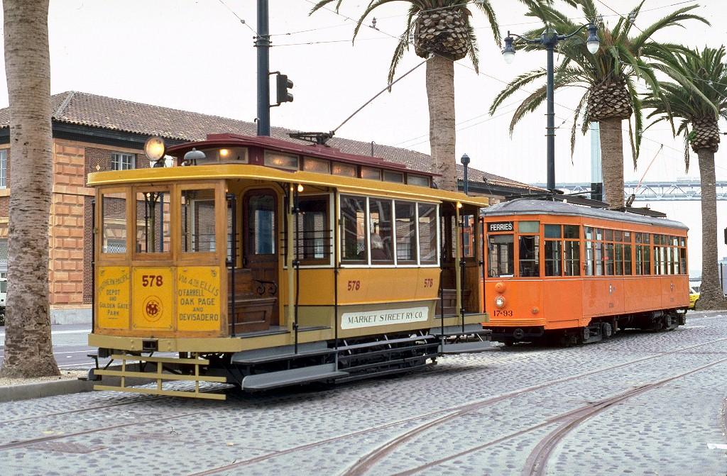 (274k, 1024x671)<br><b>Country:</b> United States<br><b>City:</b> San Francisco/Bay Area, CA<br><b>System:</b> SF MUNI<br><b>Location:</b> Embarcadero/Ferry Building <br><b>Car:</b> SF Market Street Railway/United Railroads Dinky (Hammond Car Co., 1895)  578S <br><b>Photo by:</b> Peter Ehrlich<br><b>Date:</b> 7/11/2000<br><b>Viewed (this week/total):</b> 11 / 3584