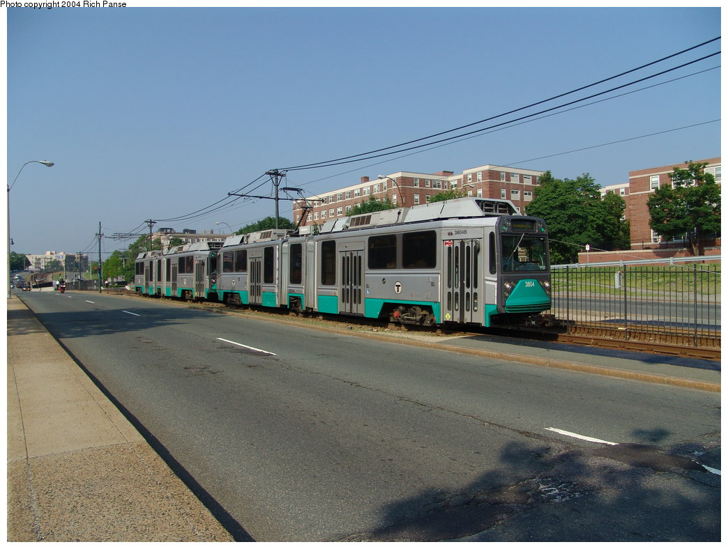(189k, 1044x788)<br><b>Country:</b> United States<br><b>City:</b> Boston, MA<br><b>System:</b> MBTA<br><b>Line:</b> MBTA Green (B)<br><b>Location:</b> Commonwealth & Melvin <br><b>Car:</b> MBTA Type 8 LRV (Breda, 1998-2006)  3804 <br><b>Photo by:</b> Richard Panse<br><b>Date:</b> 6/7/2004<br><b>Viewed (this week/total):</b> 1 / 1319