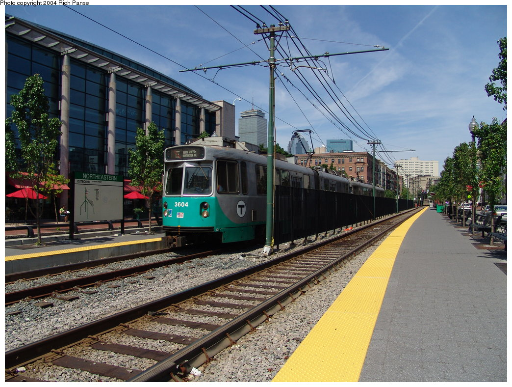 (259k, 1044x788)<br><b>Country:</b> United States<br><b>City:</b> Boston, MA<br><b>System:</b> MBTA<br><b>Line:</b> MBTA Green (E)<br><b>Location:</b> Huntington & Northeastern<br><b>Car:</b> MBTA Type 7 LRV (Kinki-Sharyo, 1986-87)  3604 <br><b>Photo by:</b> Richard Panse<br><b>Date:</b> 7/4/2004<br><b>Viewed (this week/total):</b> 0 / 2584