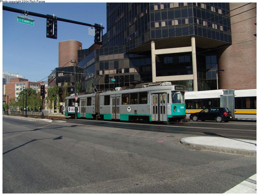 (212k, 1044x788)<br><b>Country:</b> United States<br><b>City:</b> Boston, MA<br><b>System:</b> MBTA<br><b>Line:</b> MBTA Green (E)<br><b>Location:</b> Huntington & Evans<br><b>Car:</b> MBTA Type 7 LRV (Kinki-Sharyo, 1986-87)  3628 <br><b>Photo by:</b> Richard Panse<br><b>Date:</b> 7/4/2004<br><b>Viewed (this week/total):</b> 0 / 1851