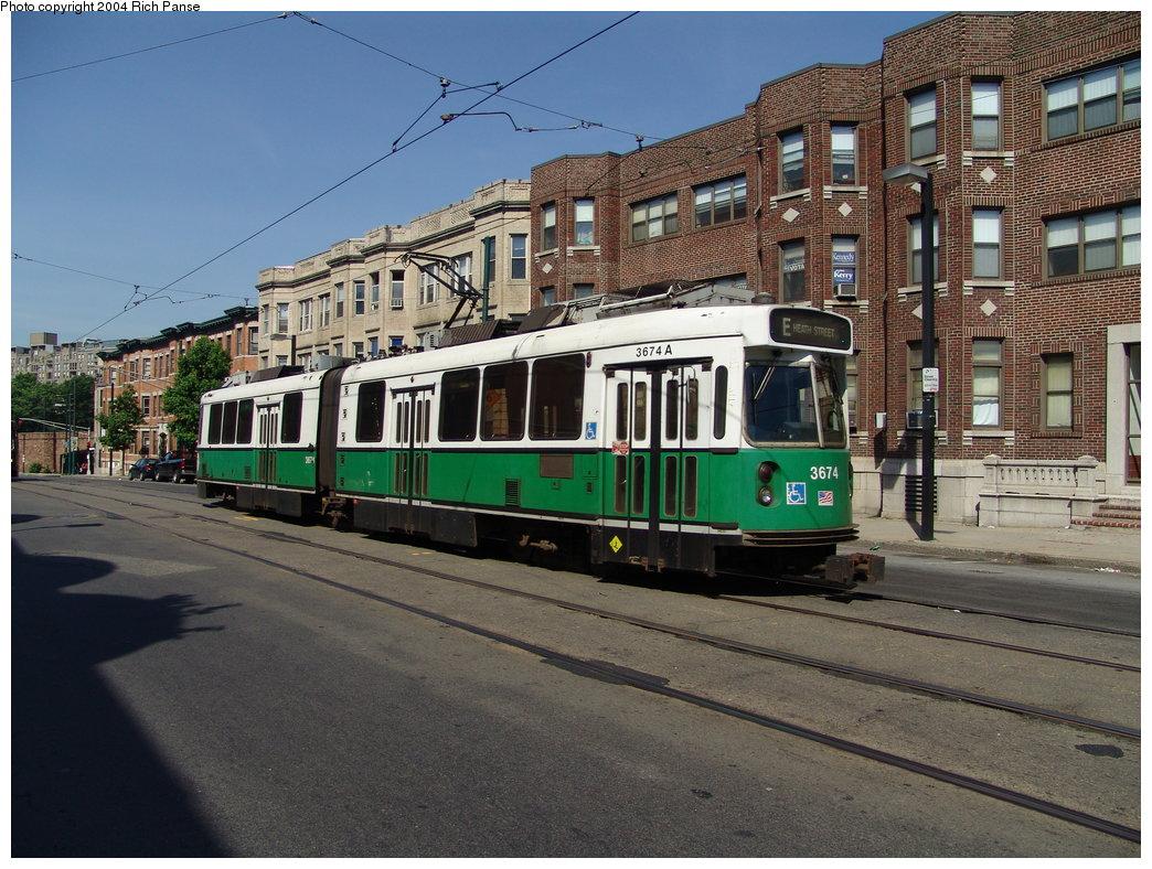 (225k, 1044x788)<br><b>Country:</b> United States<br><b>City:</b> Boston, MA<br><b>System:</b> MBTA<br><b>Line:</b> MBTA Green (E)<br><b>Location:</b> S. Huntington/Back of the Hill<br><b>Car:</b> MBTA Type 7 LRV (Kinki-Sharyo, 1986-87)  3674 <br><b>Photo by:</b> Richard Panse<br><b>Date:</b> 7/4/2004<br><b>Viewed (this week/total):</b> 1 / 1877