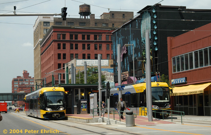 (165k, 720x461)<br><b>Country:</b> United States<br><b>City:</b> Minneapolis, MN<br><b>System:</b> MNDOT Light Rail Transit<br><b>Line:</b> Hiawatha Line<br><b>Location:</b> <b><u>Warehouse District/Hennepin Ave </b></u><br><b>Car:</b> Bombardier Flexity Swift  102/113 <br><b>Photo by:</b> Peter Ehrlich<br><b>Date:</b> 8/2/2004<br><b>Viewed (this week/total):</b> 0 / 2715