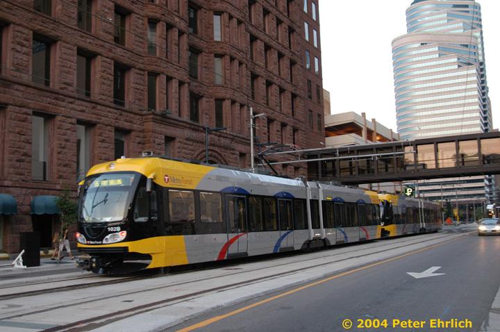 (160k, 720x478)<br><b>Country:</b> United States<br><b>City:</b> Minneapolis, MN<br><b>System:</b> MNDOT Light Rail Transit<br><b>Line:</b> Hiawatha Line<br><b>Location:</b> <b><u>Warehouse District/Hennepin Ave </b></u><br><b>Car:</b> Bombardier Flexity Swift  102 <br><b>Photo by:</b> Peter Ehrlich<br><b>Date:</b> 8/1/2004<br><b>Viewed (this week/total):</b> 1 / 2956