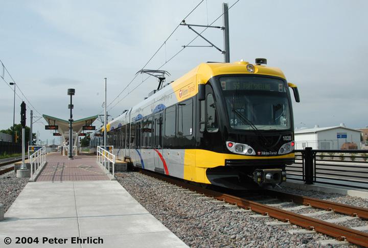 (139k, 720x486)<br><b>Country:</b> United States<br><b>City:</b> Minneapolis, MN<br><b>System:</b> MNDOT Light Rail Transit<br><b>Line:</b> Hiawatha Line<br><b>Location:</b> <b><u>Fort Snelling </b></u><br><b>Car:</b> Bombardier Flexity Swift  102 <br><b>Photo by:</b> Peter Ehrlich<br><b>Date:</b> 8/1/2004<br><b>Viewed (this week/total):</b> 0 / 1750
