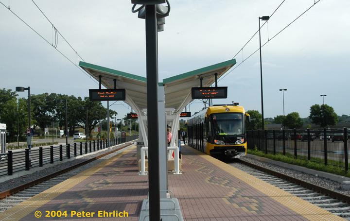 (135k, 720x455)<br><b>Country:</b> United States<br><b>City:</b> Minneapolis, MN<br><b>System:</b> MNDOT Light Rail Transit<br><b>Line:</b> Hiawatha Line<br><b>Location:</b> <b><u>Fort Snelling </b></u><br><b>Car:</b> Bombardier Flexity Swift  102 <br><b>Photo by:</b> Peter Ehrlich<br><b>Date:</b> 8/2/2004<br><b>Viewed (this week/total):</b> 1 / 1558