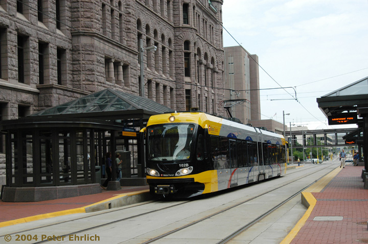 (155k, 720x478)<br><b>Country:</b> United States<br><b>City:</b> Minneapolis, MN<br><b>System:</b> MNDOT Light Rail Transit<br><b>Line:</b> Hiawatha Line<br><b>Location:</b> <b><u>Government Plaza </b></u><br><b>Car:</b> Bombardier Flexity Swift  102 <br><b>Photo by:</b> Peter Ehrlich<br><b>Date:</b> 8/2/2004<br><b>Viewed (this week/total):</b> 0 / 1773