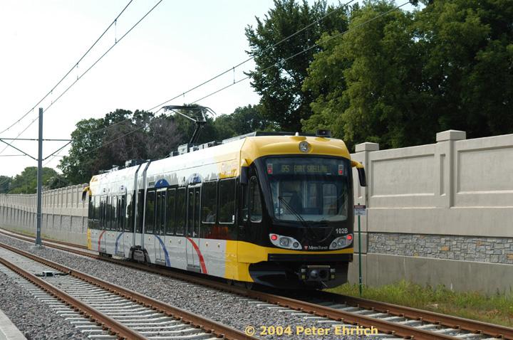 (171k, 720x478)<br><b>Country:</b> United States<br><b>City:</b> Minneapolis, MN<br><b>System:</b> MNDOT Light Rail Transit<br><b>Line:</b> Hiawatha Line<br><b>Location:</b> <b><u>50th Street/Minnehaha Park </b></u><br><b>Car:</b> Bombardier Flexity Swift  102 <br><b>Photo by:</b> Peter Ehrlich<br><b>Date:</b> 8/2/2004<br><b>Viewed (this week/total):</b> 0 / 1692