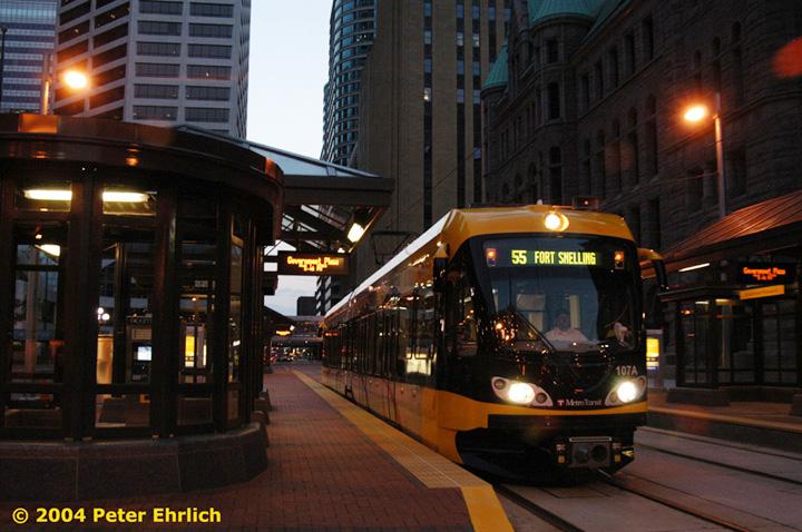 (142k, 720x478)<br><b>Country:</b> United States<br><b>City:</b> Minneapolis, MN<br><b>System:</b> MNDOT Light Rail Transit<br><b>Line:</b> Hiawatha Line<br><b>Location:</b> <b><u>Government Plaza </b></u><br><b>Car:</b> Bombardier Flexity Swift  107 <br><b>Photo by:</b> Peter Ehrlich<br><b>Date:</b> 8/1/2004<br><b>Viewed (this week/total):</b> 0 / 2058
