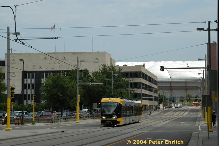 (121k, 720x478)<br><b>Country:</b> United States<br><b>City:</b> Minneapolis, MN<br><b>System:</b> MNDOT Light Rail Transit<br><b>Line:</b> Hiawatha Line<br><b>Location:</b> S. 5th Street/5th Avenue <br><b>Car:</b> Bombardier Flexity Swift  107 <br><b>Photo by:</b> Peter Ehrlich<br><b>Date:</b> 8/2/2004<br><b>Viewed (this week/total):</b> 4 / 1682