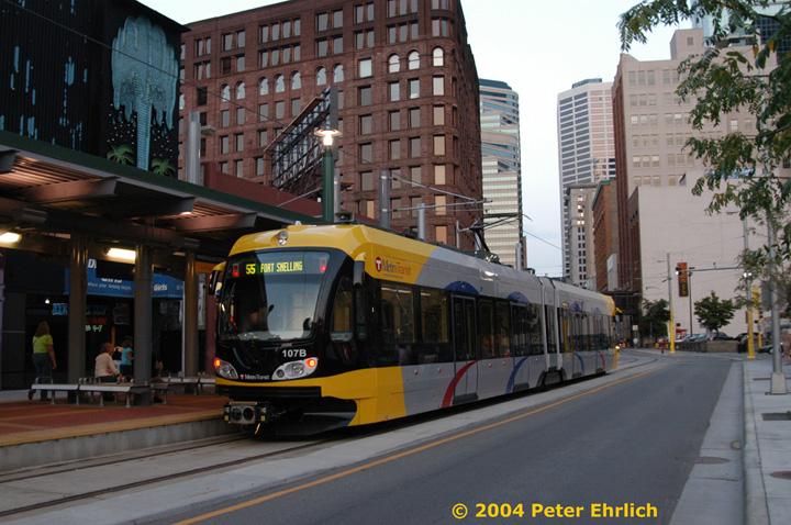 (164k, 720x478)<br><b>Country:</b> United States<br><b>City:</b> Minneapolis, MN<br><b>System:</b> MNDOT Light Rail Transit<br><b>Line:</b> Hiawatha Line<br><b>Location:</b> <b><u>Warehouse District/Hennepin Ave </b></u><br><b>Car:</b> Bombardier Flexity Swift  107 <br><b>Photo by:</b> Peter Ehrlich<br><b>Date:</b> 8/1/2004<br><b>Viewed (this week/total):</b> 2 / 4397