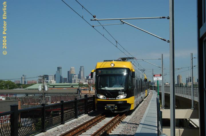 (133k, 720x478)<br><b>Country:</b> United States<br><b>City:</b> Minneapolis, MN<br><b>System:</b> MNDOT Light Rail Transit<br><b>Line:</b> Hiawatha Line<br><b>Location:</b> <b><u>Lake Street/Midtown </b></u><br><b>Car:</b> Bombardier Flexity Swift  110 <br><b>Photo by:</b> Peter Ehrlich<br><b>Date:</b> 8/2/2004<br><b>Viewed (this week/total):</b> 5 / 1854