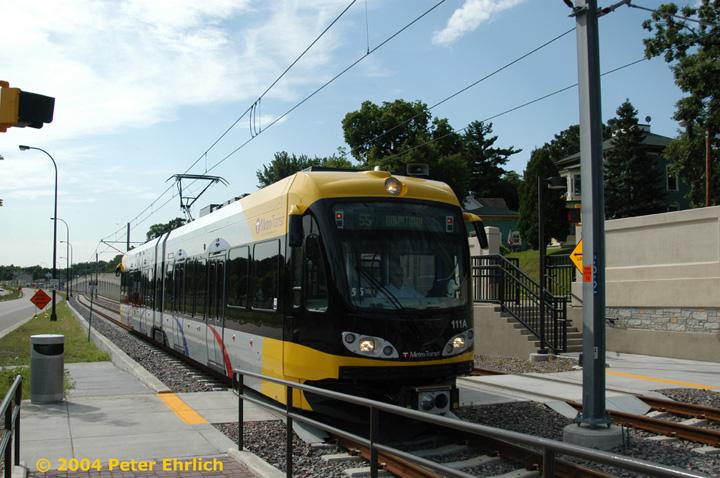 (154k, 720x478)<br><b>Country:</b> United States<br><b>City:</b> Minneapolis, MN<br><b>System:</b> MNDOT Light Rail Transit<br><b>Line:</b> Hiawatha Line<br><b>Location:</b> <b><u>50th Street/Minnehaha Park </b></u><br><b>Car:</b> Bombardier Flexity Swift  111 <br><b>Photo by:</b> Peter Ehrlich<br><b>Date:</b> 8/2/2004<br><b>Viewed (this week/total):</b> 0 / 1594