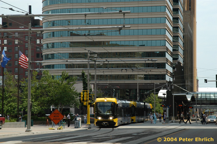 (175k, 720x478)<br><b>Country:</b> United States<br><b>City:</b> Minneapolis, MN<br><b>System:</b> MNDOT Light Rail Transit<br><b>Line:</b> Hiawatha Line<br><b>Location:</b> <b><u>Nicollet Mall </b></u><br><b>Car:</b> Bombardier Flexity Swift  114 <br><b>Photo by:</b> Peter Ehrlich<br><b>Date:</b> 8/2/2004<br><b>Viewed (this week/total):</b> 0 / 1611
